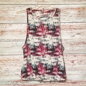 Threads 4 Thought Tank Top Maroon Green White M